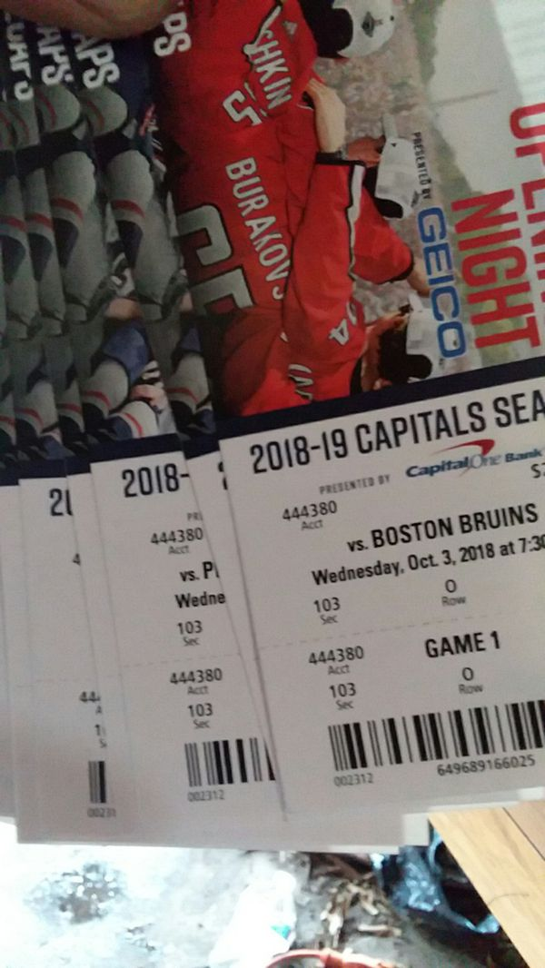 Capitals Season Tickets November 7th/18 to March 20th/19 two tickets per game seat 1&2 for every game, every game is sec103 rowO. COD