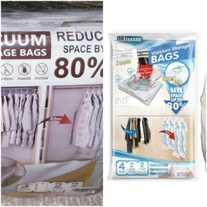 Space Saver Hanging Vacuum Storage Seal Clear Bags Garment Cover 2 long 2 short for Sale in Seminole, FL