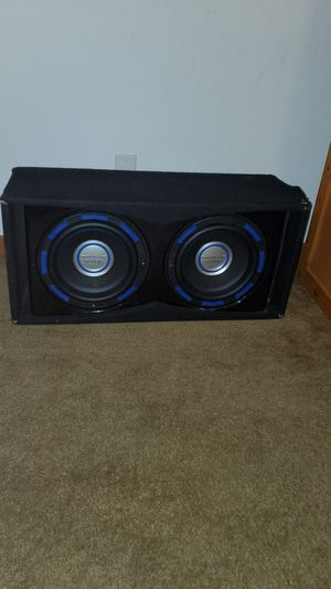 12 inch gothic power acoustic Subwoofers with everything. Amp. Wires box for Sale in Sugar Grove, IL