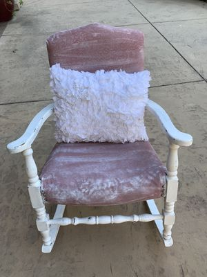 Eclectic white washed Pink shabby smaller rocking chair for Sale in Pleasanton, CA