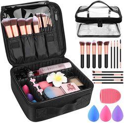 "Makeup Travel Case, Makeup Case with DIY Adjustable Divider Cosmetic Train Bag 10.3"" Organizer Perfect Set Contain 14pcs Premium Makeup Brushes 3 pcs for Sale in Missouri City,  TX"