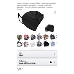 Brand new KN95 20 PCS Black Disposable Face Mask - Protective 5-Layer Nose & Mouth Cover for Outdoor Use - Foldable, Comfortable, Breathable - Filters for Sale in Queens,  NY