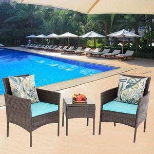 3 Pieces Outdoor Wicker Patio Garden Furniture Turquoise for Sale in Miami Beach, FL