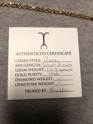 14k real GOLD diamond cut rope bracelet for Sale in Wichita, KS