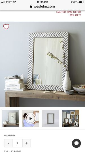 Gray herringbone wall mirror from West Elm for Sale in Plainfield, IL