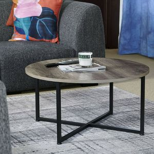 Grey Top Black Frame Round Coffee Table for Living Room for Sale in Rowland Heights, CA