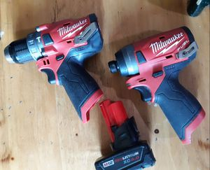 Milwaukee FUEL 12V Volt Ion Brushless Impact Driver & Hammer Drill / Driver 2 Tool Set w/ M12 Red Lithium 4.0 Battery for Sale in Seattle, WA