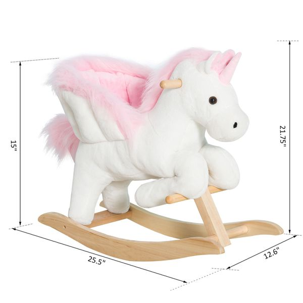 Qaba Kids Wooden Plush Ride-On Unicorn Rocking Horse Chair Toy With Sing Alongs