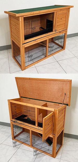 """(New in box) $95 Wooden 44x17x36"""" Rabbit Hutch Pet Cage with Run Asphalt Roof Bunny Small Animal House for Sale in Whittier, CA"""