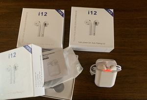 i12 TWS Airpods Style Earbuds Bluetooth 5.0 Wireless Headphones Earphones White for Sale in Port St. Lucie, FL