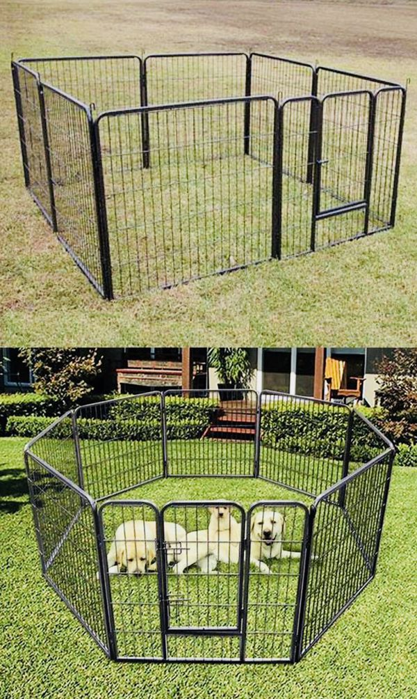 New 32 inches Tall Heavy Duty Dog Exercise Metal Playpen Fence 8 Panels