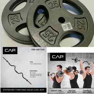 50lbs of Standard Weight Plates and 2-piece Super Curl Bar for Sale in Riverside, CA