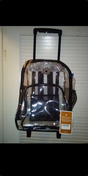 Backpack, Clear w/ Wheels - Never Used w/ Free Box for Sale in Las Vegas, NV
