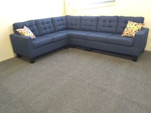 Sectional blue sofa Polyfiber (linen - like fabric) New in the box, We don't assemble. for Sale in Los Angeles, CA