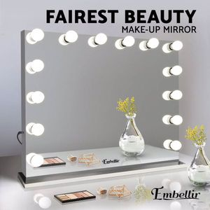 "New in box $220 Vanity Mirror w/ 14 Dimmable LED Light Bulbs, Hollywood Beauty Makeup Power Outlet 32x26"" for Sale in Whittier, CA"