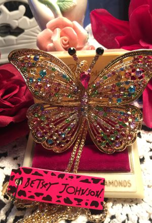Stunning rhinestone crystal colorful rhinestone Butterfly. Necklace & brooch Betsey Johnson designer quality piece on a gold chain for Sale in Northfield, OH