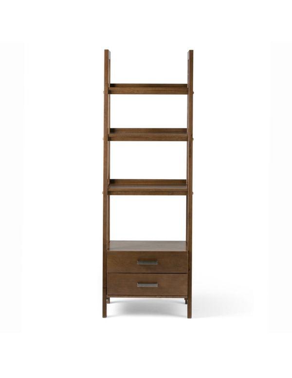 Modern ladder shelf with storage on medium saddle brown. (I have 2).