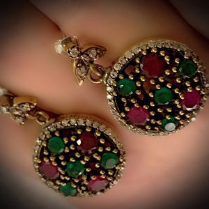 PIGEON BLOOD RED RUBY EMERALD FINE ART EARRINGS Solid 925 Sterling Silver/Gold WOW! Brilliantly Faceted Round Cut Gems, Diamond Topaz M6458 V for Sale in San Diego, CA