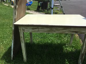 Antique table w drawer metal top green. Matching mirror for Sale in Jeannette, PA