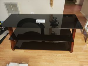 Wood & glass table/tv council for Sale in Hillsboro, OR