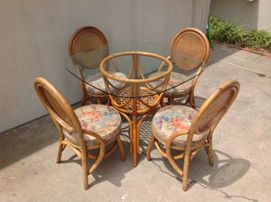 Boho Vintage Rattan Bamboo Wicker Dining Kitchen Patio Set- Table & 4 Cane Back Chairs for Sale in San Diego, CA