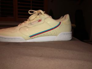 Adidas Cream Leather Shoes w/ Red and Blue Pinstripes for Sale in Upland, CA