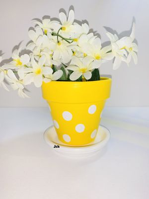 White/Yellow polka dots hand painted flower pot for Sale in Los Angeles, CA