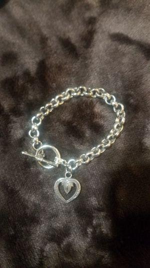 Sterling Silver Heart Charm Toggle Bracelet for Sale in Phoenix, AZ