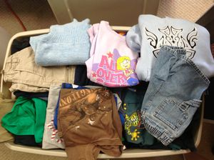 Oversized tub full of Nice kids clothes, boys & girls few infant, mostly size 5-10 for Sale in Cypress, CA