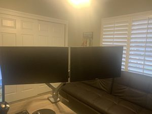 """Dual 22"""" Dell monitors with brand new adjustable monitor arms for Sale in Fresno, CA"""