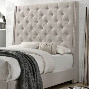 ✅Chantilly Khaki Upholstered Queen Bed for Sale in Silver Spring, MD