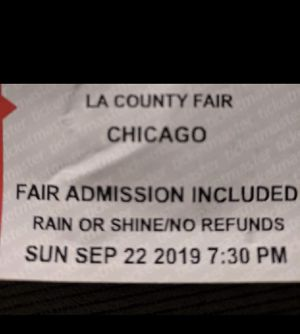 Chicago Concert Ticket at LA County Fair - Sunday 09/22/2019 - includes entrance to the LA County Fair for Sale in Whittier, CA