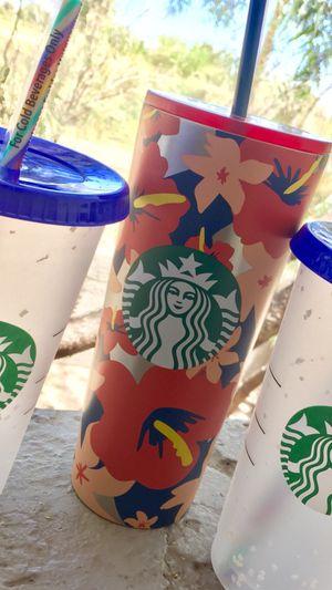 *** Hawaiian 🌺 Floral Starbucks NEW Tumbler & (2) Confetti Cups $55 for Sale in Phoenix, AZ