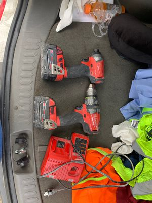 Milwaukee drill & impact (one charger, two batteries) for Sale in Washington, DC