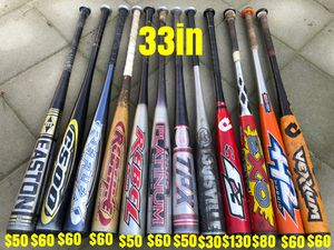 Baseball bats equipment gloves Easton demarini tpx marucci bates Nike bat for Sale in Los Angeles, CA