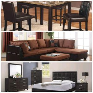 Brand new 3 room package deal includes...5pc counter height kitchen table set + sectional couch with ottoman + queen size headboard/footboard/rails/n for Sale in Richmond, VA