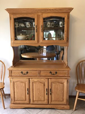 Oak Hutch with matching oak dining table with 6 chairs for Sale in Glendale, AZ