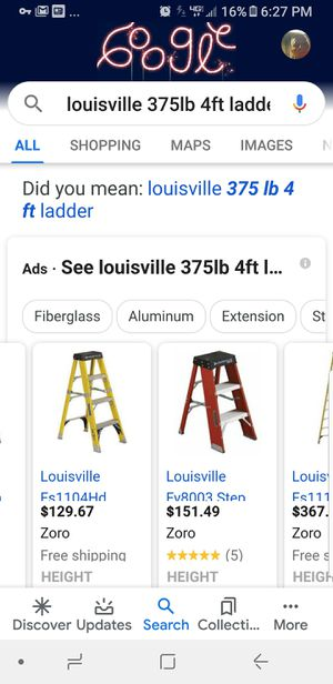 Louisville ladders 1 2ft and 1 4ft 375lbs rated for Sale in Akron, OH
