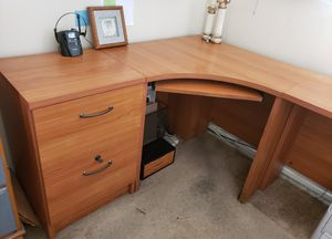 Desk : Corner and Wall length Desk unit with 2 filing cabinets, see both pics for Sale in Los Angeles, CA