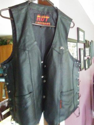 Hot leather motorcycle vest size large for Sale in Portage, IN