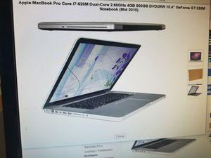 "15.4"" screen MACBOOK PRO 500GB 4GIGS RAM. 2011 model. ICORE 7 for Sale in Los Angeles, CA"