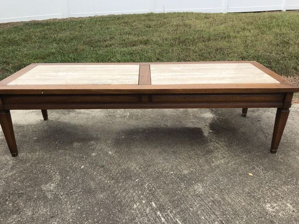 Long marble coffee table & end table