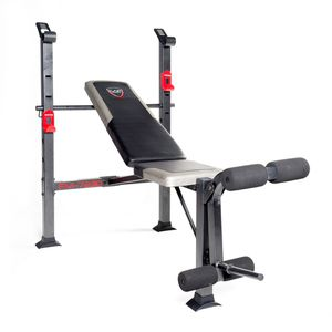 GREAT CONDITION! CAP Strength Deluxe Standard Bench Workout Bench Home Gym with 120 lb Weight Set & Bar for Sale in Newark, CA