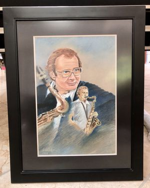 STAN GETZ SAXOPHONE ORIGINAL CHARCOAL by Luciola + LARGE BRAND NEW MATTED FRAME! for Sale in San Diego, CA