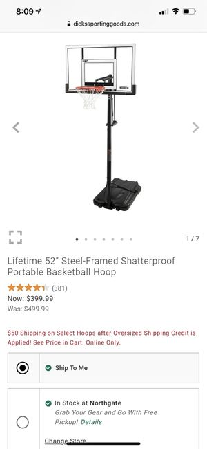 "Lifetime 52"" Steel Framed Shatterproof Portable Basketball Hoop BRAND NEW for Sale in Kirkland, WA"