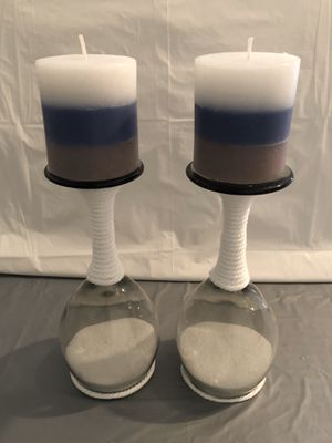 Wrapped White Rope & Sand Wine Glass Candle Holders (w/Striped Grey Candles) for Sale in Bluffdale, UT