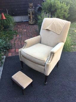 Smaller off white arm chair with foot stool. for Sale in Hopedale, MA