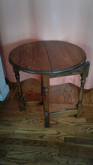 vintage solid wood folding table oval shape for Sale in Fullerton, CA