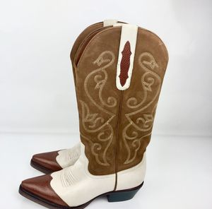 Womens Cowgirl Boots Womens 6 Medium Brown Beige Leather Pointed Toe Shoes for Sale in Dallas, GA