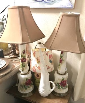 Pair of matching Antique porcelain floral lamps with shades for Sale in Wildomar, CA